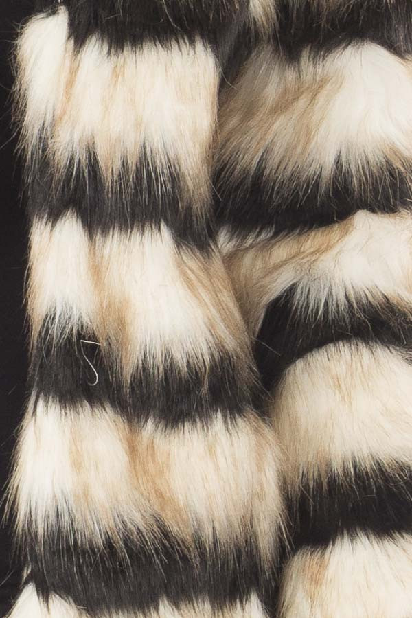 Black and Ivory Striped Faux Fur Jacket detail