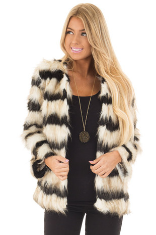 Black and Ivory Striped Faux Fur Jacket front close up