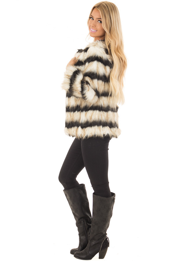 Black and Ivory Striped Faux Fur Jacket side full body