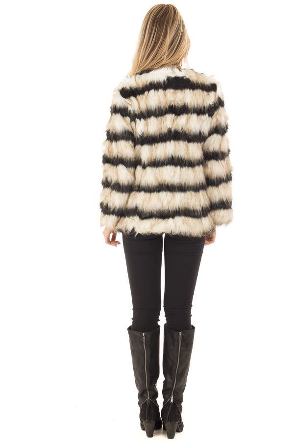 Black and Ivory Striped Faux Fur Jacket back full body