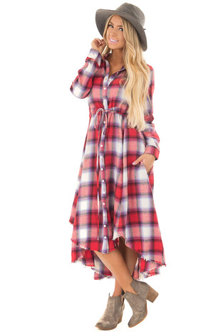 Cherry Red Plaid Long Sleeve Button Up Dress with Waist Tie front full body