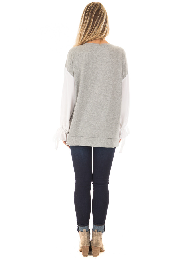 Heather Grey Top with White Long Sleeves and Ties back full body