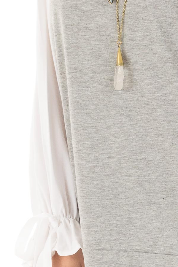 Heather Grey Top with White Long Sleeves and Ties detail