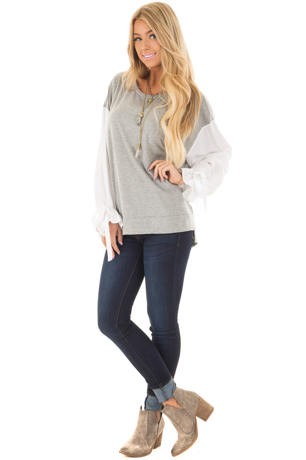 Heather Grey Top with White Long Sleeves and Ties front full body