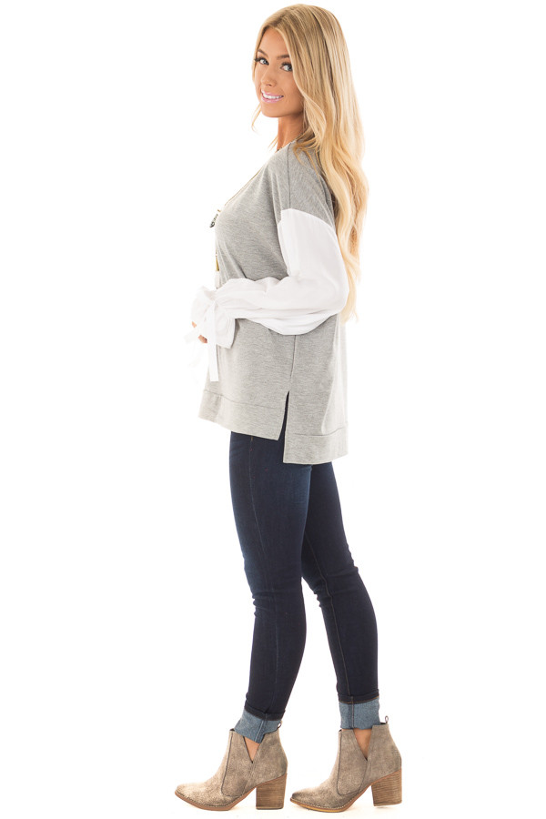 Heather Grey Top with White Long Sleeves and Ties side full body