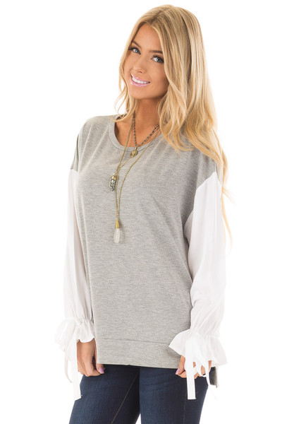 Heather Grey Top with White Long Sleeves and Ties front close up