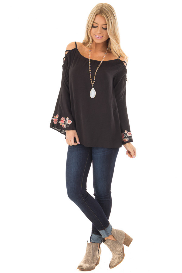 Black Cold Shoulder Top with Floral Embroidery front full body