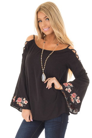 Black Cold Shoulder Top with Floral Embroidery front close up