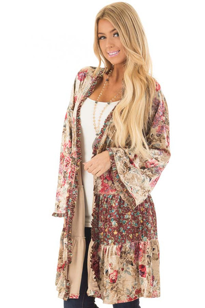 Taupe Floral Print Velvet Long Sleeve Cardigan front close up
