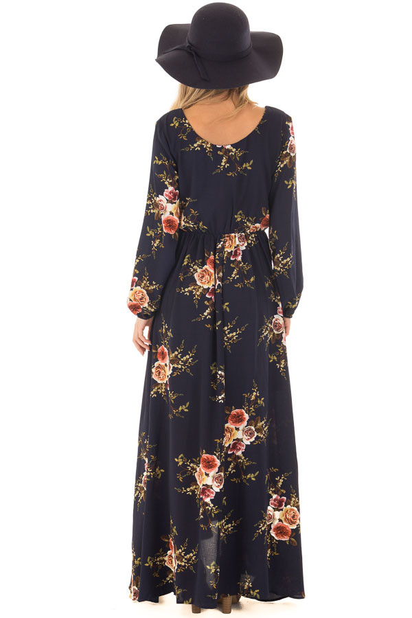 Navy Floral Maxi Dress with Waist Tie and Layered Front back full body