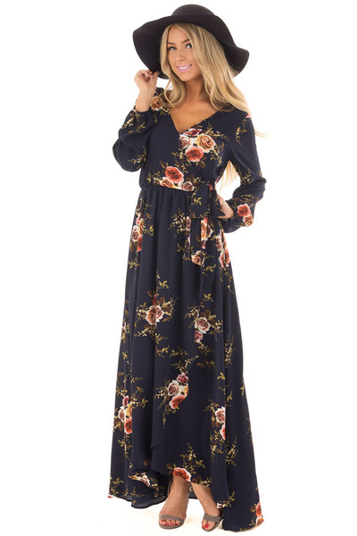 Navy Floral Maxi Dress with Waist Tie and Layered Front front close up