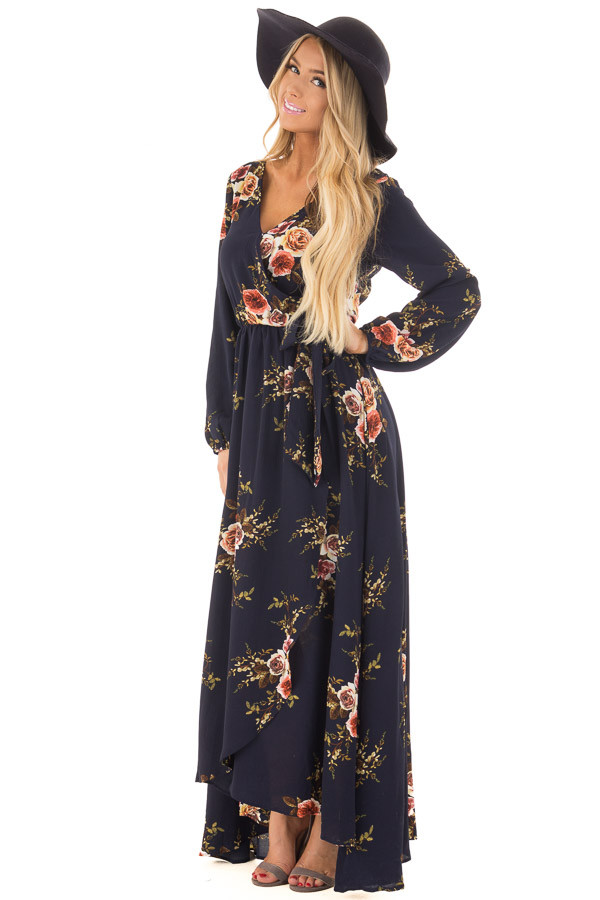 Navy Floral Maxi Dress with Waist Tie and Layered Front front full body