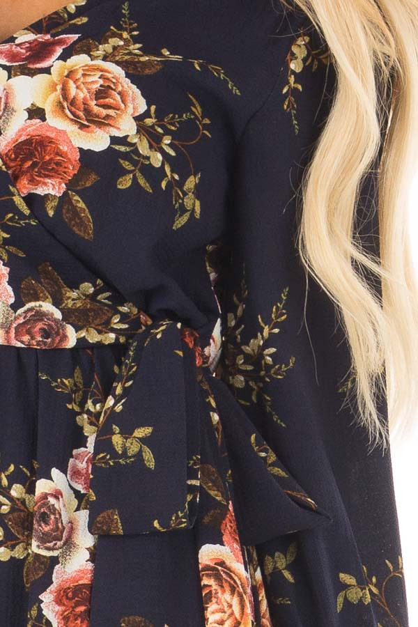 Navy Floral Maxi Dress with Waist Tie and Layered Front detail