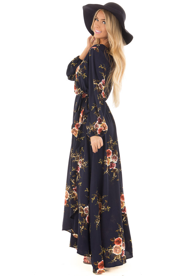 Navy Floral Maxi Dress with Waist Tie and Layered Front side full body