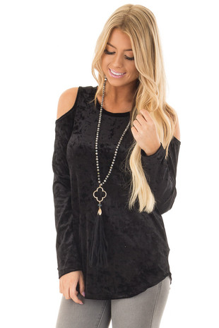Black Crushed Velvet Cold Shoulder Long Sleeve Top front close up