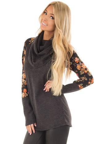 Charcoal Cowl Neck Sweater with Floral Print Long Sleeves front close up
