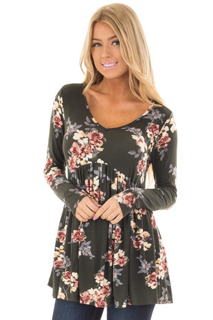 Olive Floral Print Babydoll V Neck Long Sleeve Top front close up