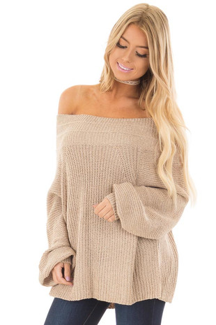 Oatmeal Long Sleeve Off the Shoulder Oversized Sweater front close up