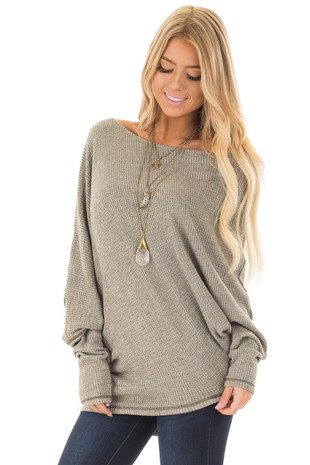 Olive Waffle Knit Oversized Off the Shoulder Top front close up