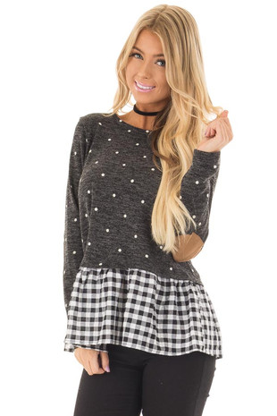 Charcoal Polka Dot Top with Plaid Contrast and Elbow Patches front close up