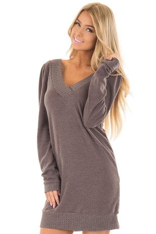Taupe Sweater Dress with Ribbed Details front close up
