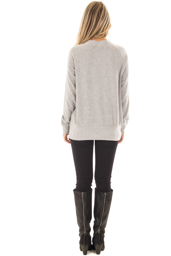 Cement Grey Super Soft Lace Up V Neck Sweater back full body