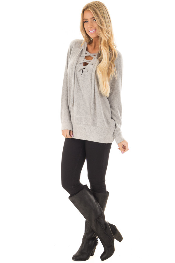 Cement Grey Super Soft Lace Up V Neck Sweater front full body