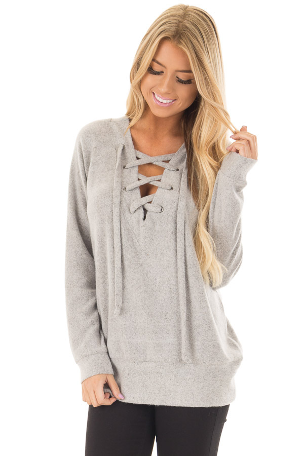 Cement Grey Super Soft Lace Up V Neck Sweater front close up