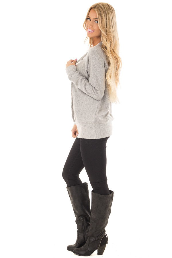 Cement Grey Super Soft Lace Up V Neck Sweater side full body