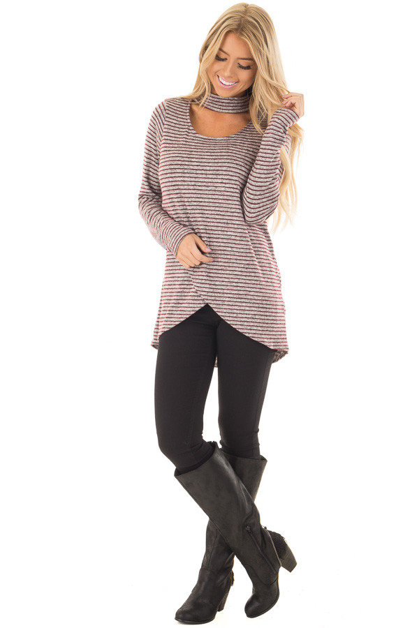 Burgundy Striped Layered Sweater with Choker Band front full body