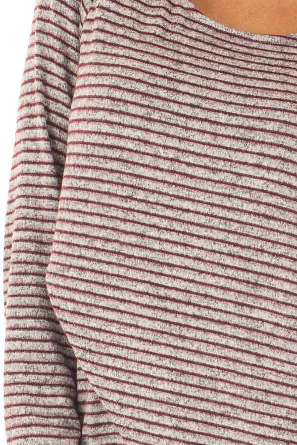 Burgundy Striped Layered Sweater with Choker Band detail