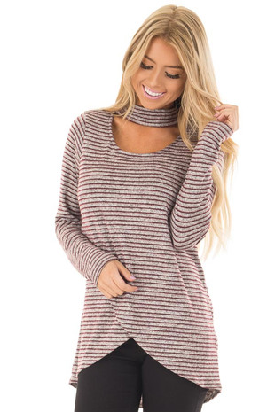 Burgundy Striped Layered Sweater with Choker Band front close up