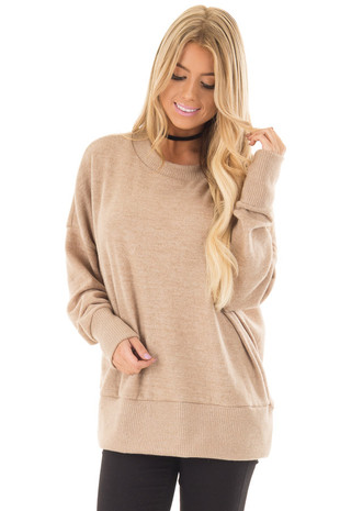 Taupe Super Soft Comfy Sweater front close up