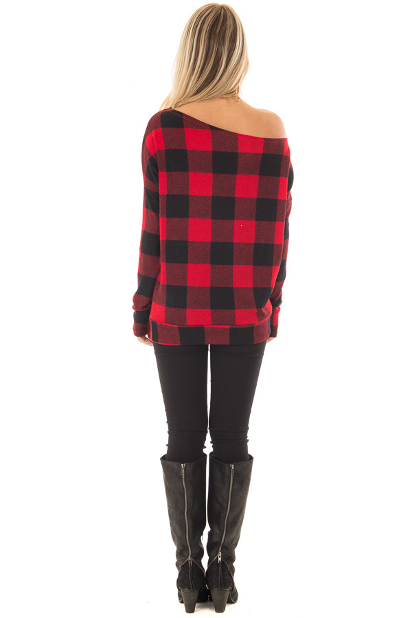 Cherry Red and Black Plaid Off Shoulder Knit Top back full body