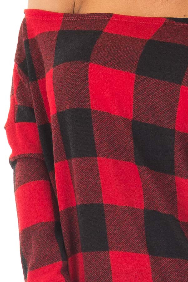 Cherry Red and Black Plaid Off Shoulder Knit Top detail