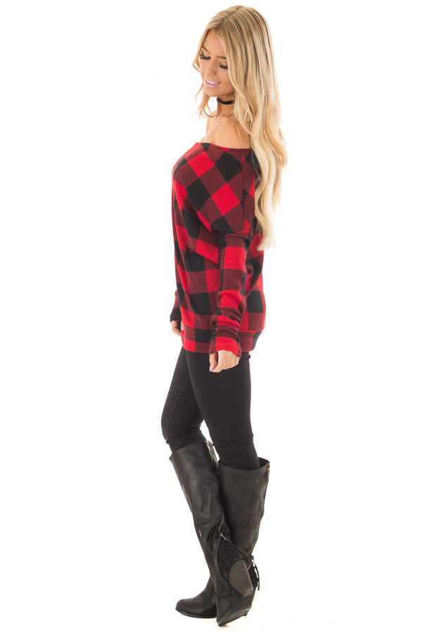Cherry Red and Black Plaid Off Shoulder Knit Top side full body