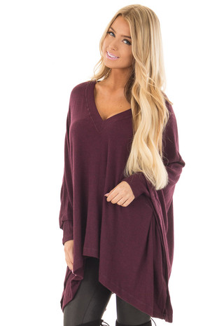 Deep Burgundy Soft Knit V Neck Poncho Style Top front close up