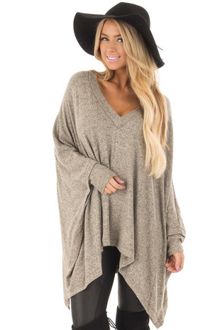 Taupe Soft Knit V Neck Poncho Style Top front close up