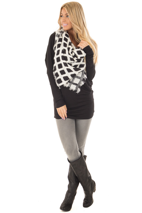 Black and Ivory Checkered Blanket Scarf with Fringe Detail front full body