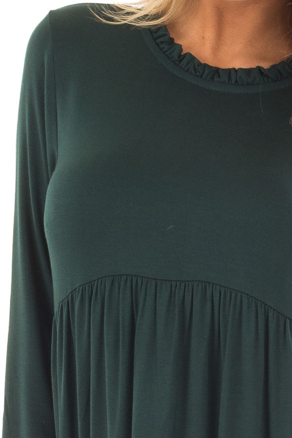 Hunter Green Long Sleeve Baby Doll Top  detail