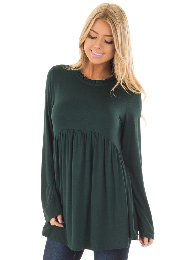 Hunter Green Long Sleeve Baby Doll Top  back full body front close up