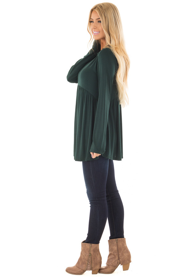 Hunter Green Long Sleeve Baby Doll Top side full body
