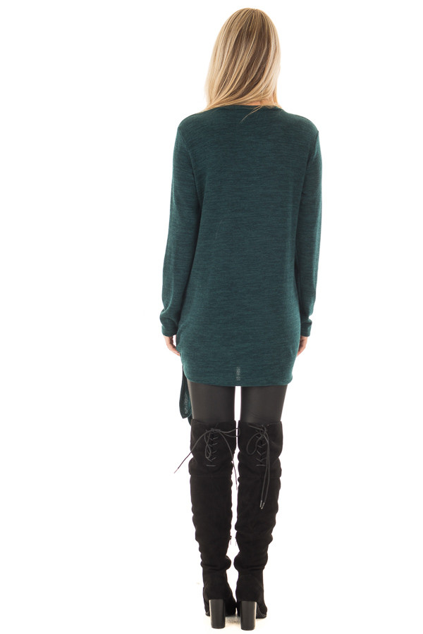 Emerald Green Sweater with Side Slits and Tie Detail back full body