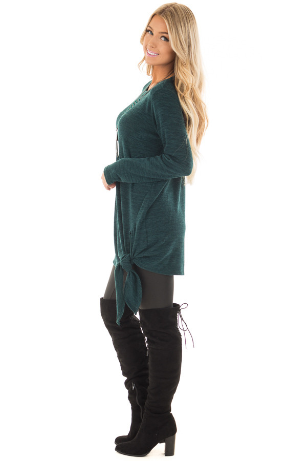 Emerald Green Sweater with Side Slits and Tie Detail side full body