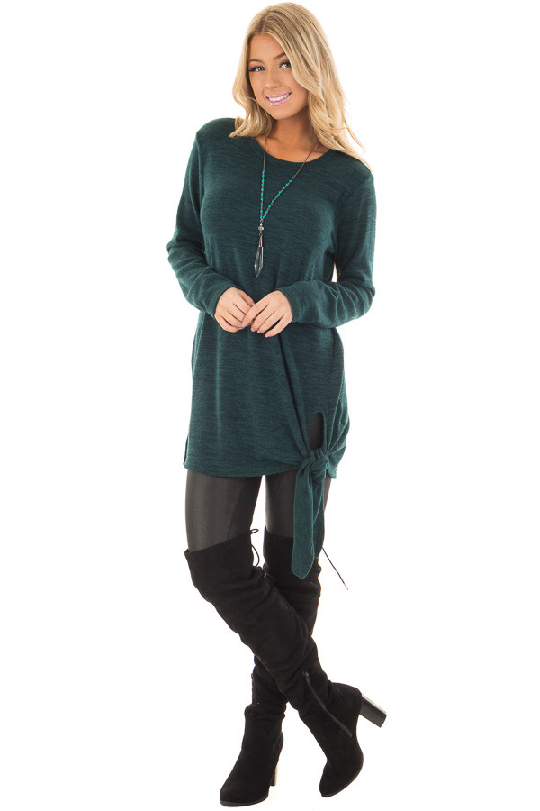 Emerald Green Sweater with Side Slits and Tie Detail front full body