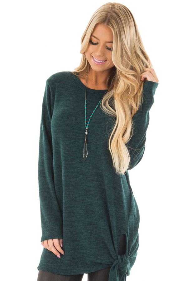 Emerald Green Sweater with Side Slits and Tie Detail front close up