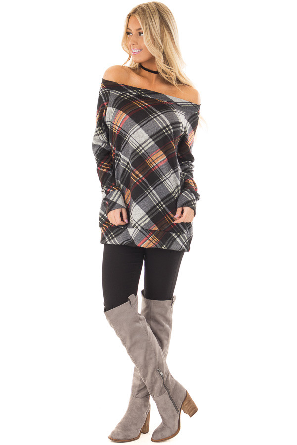 Black Plaid Off the Shoulder Top front full body