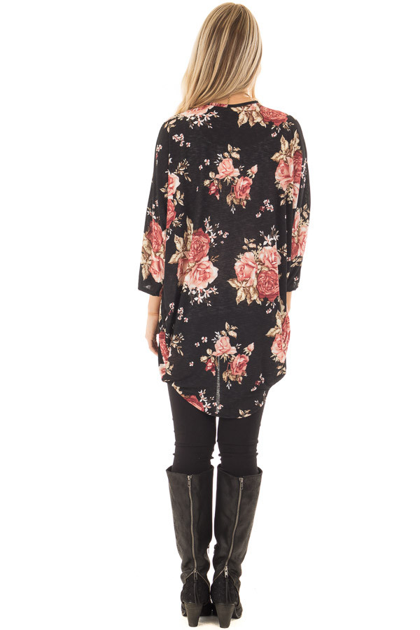Black Floral Open Cardigan with Rounded Hemline back full body