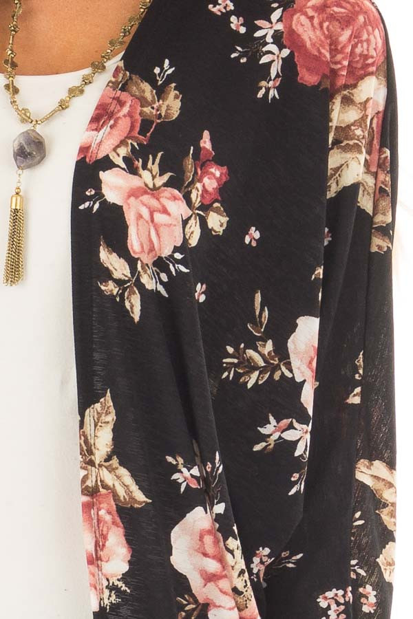 Black Floral Open Cardigan with Rounded Hemline front detail