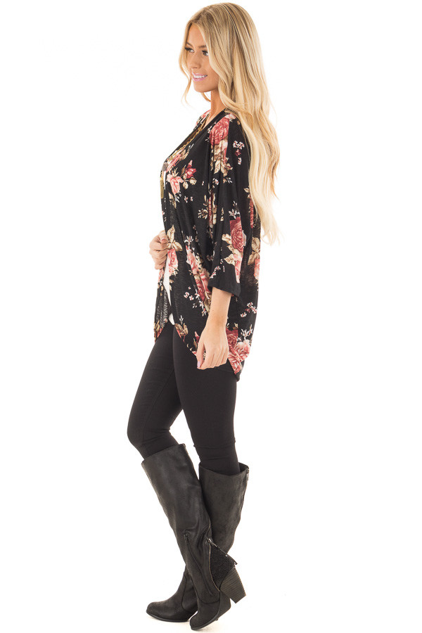 Black Floral Open Cardigan with Rounded Hemline side full body